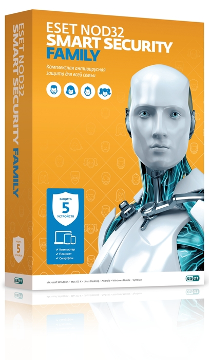 ESET NOD32 Smart Security Family 1год 5ПК