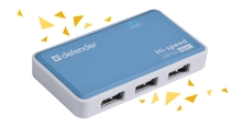 Концентратор USB 2.0  4 портов + Б.П. Defender Quadro Power <83503>