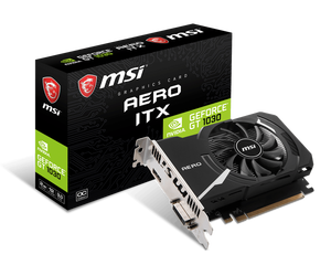 Видеокарта MSI GeForce GT 1030 2Гб GDDR4 AERO ITX 2GD4 OC (RTL) DVI+HDMI