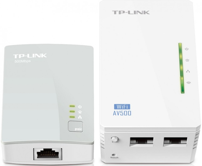 Сетевой адаптер Powerline/WiFi TP-LINK TL-WPA4220KIT Ethernet (2 адаптера, UTP, 802.11b/g/n, 300Mbps